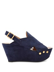 Chloe Mischa Suede Platform Wedge Sandals Navy