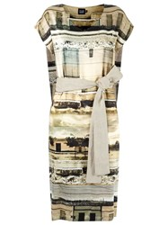 Fernanda Yamamoto Abstract Print Flare Dress Nude And Neutrals