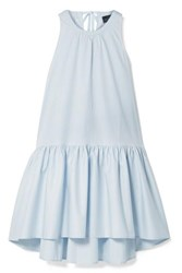 Hatch The Paloma Tiered Cotton Blend Poplin Dress Sky Blue