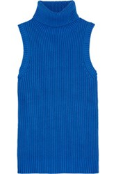 Michael Michael Kors Ribbed Cotton Blend Turtleneck Top Cobalt Blue