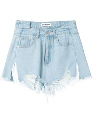Ground Zero Frayed Denim Shorts Blue