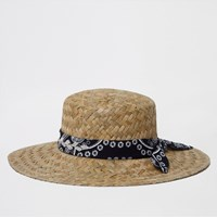 River Island Light Brown Chunky Weave Straw Hat