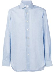 Kiton Micro Striped Shirt Blue