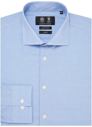 Austin Reed City Slim Fit Dobby Texture Shirt Blue