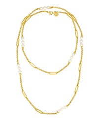 Majorica Modern Metal 6Mm Organic Man Made Pearls Goldplated Layered Necklace White