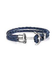 Forzieri Men's Bracelets Navy Blue Leather Men's Bracelet W Anchor
