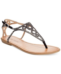 Zigi Advice Rhinestone Flat Thong Sandals Women's Shoes Black