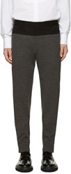 Wooyoungmi Black And Grey Wool Jersey Trousers