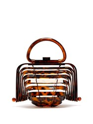 Cult Gaia Lilleth Acrylic Top Handle Bag Tortoiseshell