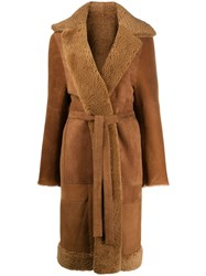 Liska Panelled Longline Coat Brown