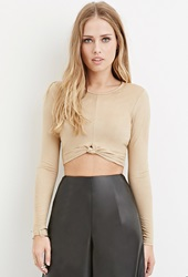 Forever 21 Knotted Faux Suede Crop Top Taupe