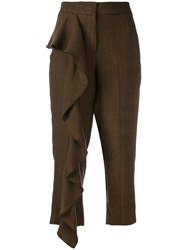 Dondup Ruffle Panel Cropped Trousers Women Cotton Linen Flax Viscose 40 Brown