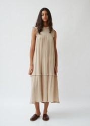 Raquel Allegra Cotton Gauze Smocked Dress Sand