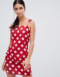 Boohoo Tie Strap Cami Min Dress In Polka Dot Red