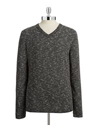 Dkny V Neck Woven Sweater Black