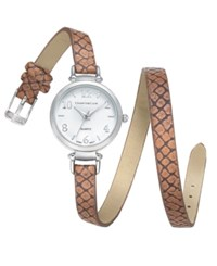 Charter Club Women's Brown Faux Snakeskin Double Wrap Polyurethane Strap Watch 32Mm 17194 Only At Macy's Silver