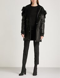 Rick Owens Hooded Leather And Shearling Jacket Black