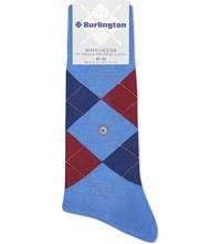 Burlington Manchester Cotton Blend Socks Mid Blue