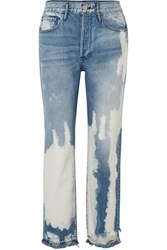 3X1 W3 Higher Ground Bleached Distressed High Rise Straight Leg Jeans Mid Denim