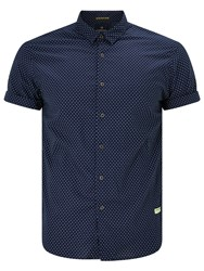 Scotch And Soda Short Sleeve Mini Square Print Shirt Navy