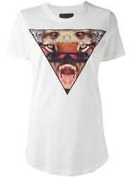 Les Eclaires Triangle Animal Printed T Shirt White