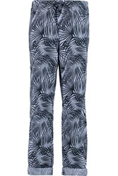 Tomas Maier Printed Cotton Poplin Straight Leg Pants Blue