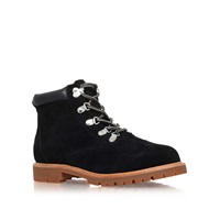 Flat Lace Up Ankle Boots By Kurt Geiger Black