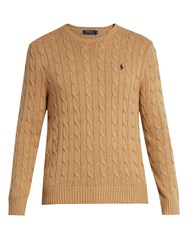 Polo Ralph Lauren Crew Neck Cable Knit Cotton Sweater Camel