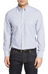 Nordstrom Men's Shop Classic Big And Tall Smartcare Tm Fit Check Sport Shirt White Navy Peacoat Grid