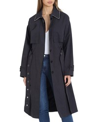 Badgley Mischka Brooke Cotton Utility Trench Coat Charcoal