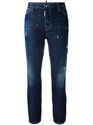 Dsquared2 Cropped Distressed Skinny Jeans Women Cotton Spandex Elastane Polyester 42 Blue