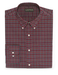 Lauren Ralph Lauren Classic Fit Plaid Dress Shirt Red