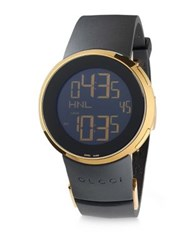 Gucci Swiss Made Digital Tm 501 Leather Strap Watch Black Gold