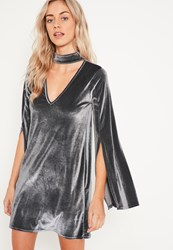 Missguided Grey Velvet Choker Neck Swing Dress