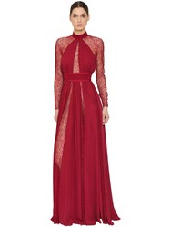 Zuhair Murad Silk Georgette And Lace Dress Red