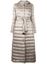 Max Mara Long Hooded Down Coat Nude Neutrals