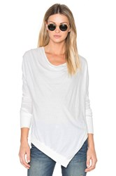 Bobi Light Weight Jersey Cowl Neck Long Sleeve Top White