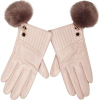 River Island Womens Light Pink Leather Pom Pom Gloves