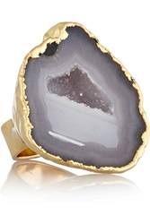 Dara Ettinger Calista Gold Tone Druzy Ring Metallic