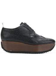 Thom Browne Leather Brogue Platform Black