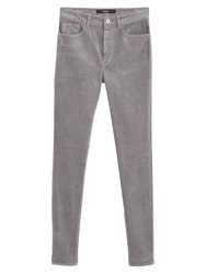 Mango Corduroy Slim Fit Trousers Grey