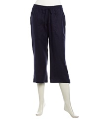 Neiman Marcus Cropped Linen Drawstring Pants Navy