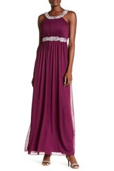 City Triangles Pleated Bodice Gown Purple