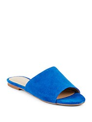 Saks Fifth Avenue Slip On Leather Slide Sandals Bright Blue