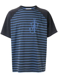 J.W.Anderson Jw Anderson Anchor Stripes Raglan T Shirt Blue
