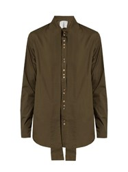 By Walid Cravat Tie Neck Cotton Shirt Khaki