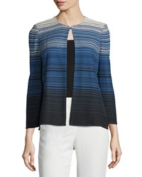 Misook Sadie Striped Heritage Fit Jacket Black River Rock
