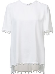 Adam By Adam Lippes Crepe Fringe Top White