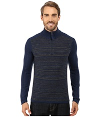 Royal Robbins Fireside Wool Stripe 1 4 Zip Deep Blue Men's Long Sleeve Pullover