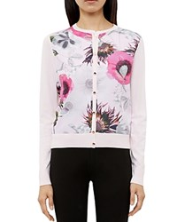 Ted Baker Erinie Neon Poppy Woven Front Cardigan Nude Pink